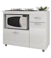 balcáo p/ cooktop 5 bocas e microondas branco completa móveis