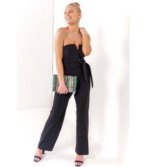 kathleen strapless jumpsuit - black