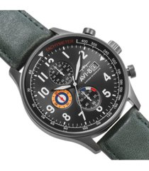 avi-8 men's hawker hurricane chronograph dark green genuine leather strap watch 42mm