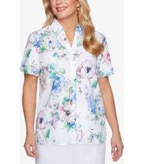 alfred dunner petite classics floral burnout shirt