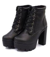bota coturno feminino tratorada salto alto leve confortável - preto