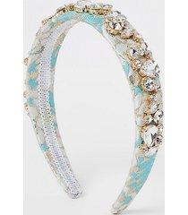 river island womens light blue jacquard embellished headband