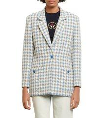 women's sandro cailana houndstooth cotton blend blazer