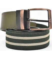 cinturón reata verde/beige para hombre