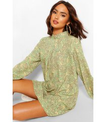 high neck ditsy print smock dress, green