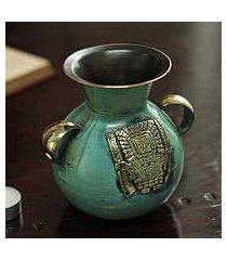 bronze and copper vase, 'inca deities' (peru)