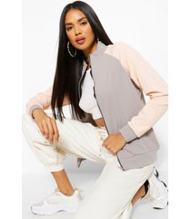 colour block funnel neck bomber jacket, nude