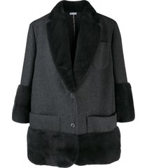 thom browne mink fur trimmed coat - grey