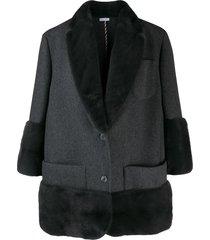 thom browne mink fur trimmed coat - grey