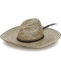 saint laurent braided band striped hat - neutrals