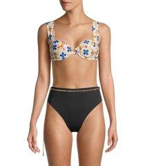 weworewhat women's claudia tile-print bikini top - pearl multi - size xs