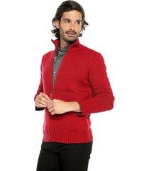 sweater rojo 52 preppy m/l c/alto abierto cremallera tej medio
