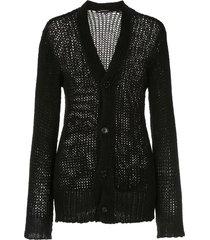 ann demeulemeester fitted v-neck cardigan - black