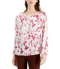 alfani abstract-print pleated top, created for macy's