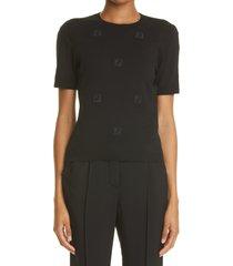women's fendi ff ladder stitch cotton sweater, size 4 us - black