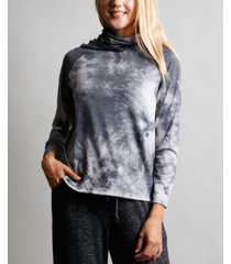 women's tie dye built-in gaiter hoodie