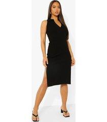 gebreide midi jurk met knopen en polo kraag, black