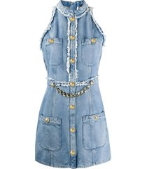 balmain chain-embellished sleeveless denim dress - blue