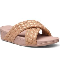 lulu padded shimmy suede slides shoes summer shoes flat sandals beige fitflop