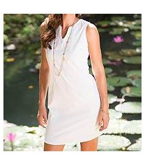 cotton shift dress, 'lily in white' (indonesia)
