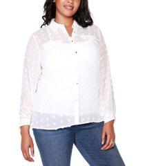 belldini black label plus size button-front clip-dot blouse