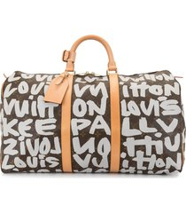 louis vuitton 2001 pre-owned graffiti keepall 50 travel bag - brown