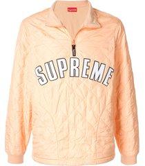 supreme arc logo quilted pullover - orange