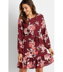 maurices womens burgundy floral tie waist long sleeve mini dress red