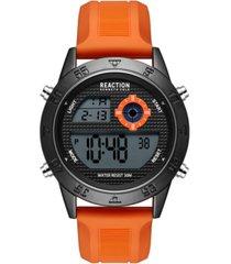kenneth cole reaction men's dress sport round orange silicon strap watch 47mm