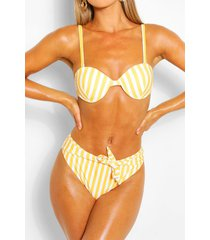 gestreepte bikini met beugel hoge taille en strikceintuur, geel