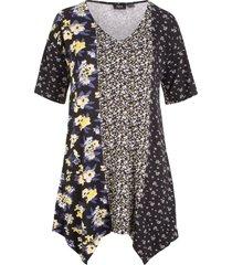 maglietta con mix di fantasie e fondo a punte (giallo) - bpc bonprix collection