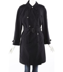 burberry london blue cotton belted trench coat blue sz: custom