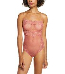 women's free people intimately fp that sweet thing thong bodysuit, size large - pink