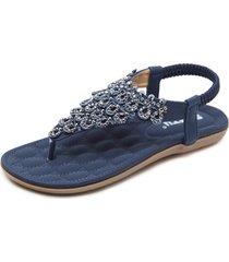 boho sandali bassi da spiaggia a clip toe con rivette