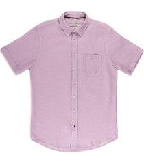 camisa casual manga corta en textura slim fit para hombre 93029