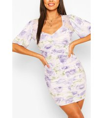 floral mesh print ruched midi dress, lilac