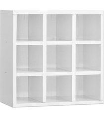 porta toalhas ajl móveis 9 lugares 40x40 cm nicho organizador branco,