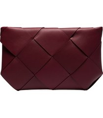 bottega veneta maxi intrecciato clutch - red
