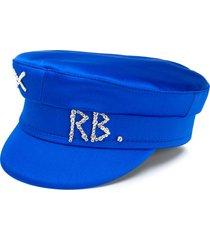 ruslan baginskiy rhinestone logo baker boy hat - blue
