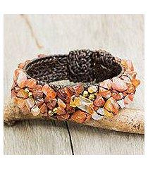 carnelian cuff bracelet, 'sunny day' (thailand)
