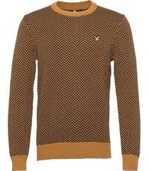 herringb jacquard knitted jumper gebreide trui met ronde kraag bruin lyle & scott