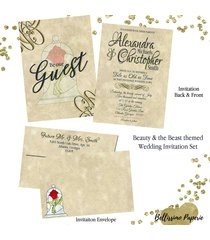 beauty and the beast wedding invitation set with matching envelope navy gold