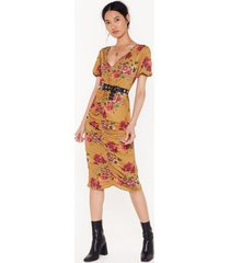 womens floral ruched front midi dress - mustard