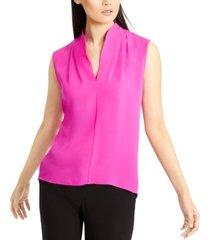 elie tahari v-neck silk sleeveless top
