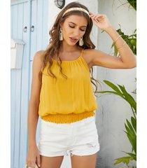 camiseta sin mangas con cuello redondo y diseño fruncido amarillo de yoins