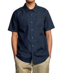 rvca day shift short sleeve button-up shirt, size xx-large in navy marine at nordstrom