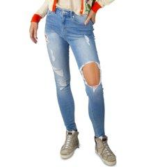 indigo rein juniors' high rise destructed skinny jeans