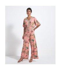 macacão pantalona estampa floral com detalhes entremeios | marfinno | laranja | m