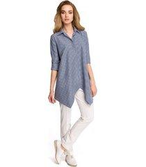 overhemd style s106 gingham loose fit overhemd - marineblauw