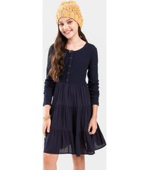 franki tiered button front mini dress - navy